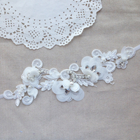 Vintage Embroidery Wedding Lace Headband Pearl And Crystal Bridal Hairpiece Chic Appliqued Lace Wedding Hair Flowers