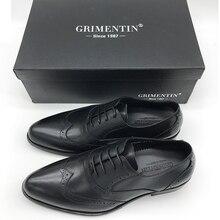 GRIMENTIN genuine leather men business black brown formal shoes