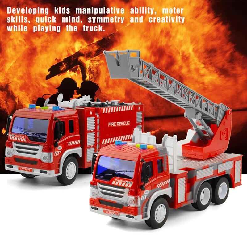 2 pièces/ensemble 1/16 inertiel camion de pompier jouet voiture inertielle camion de lutte contre l'incendie voiture garçons jouets pour enfants cadeaux de noël pour les enfants