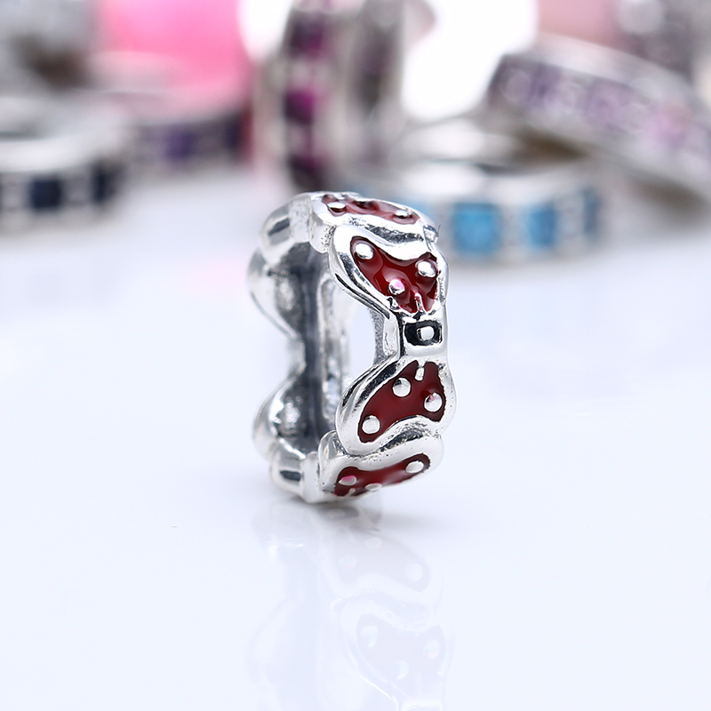 New 100% 925 Sterling Silver Fit Original Pandora Bracelet Red bow silver spacer DIY Charms Beads for Jewelry Making Gift