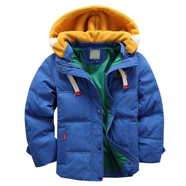 Высокое качество 4-10Yrs Мальчиков зимние пальто синий Куртка дети Повседневная толстые теплые Мальчики Зимняя куртка Рождество Мальчик Зимнее Пальто