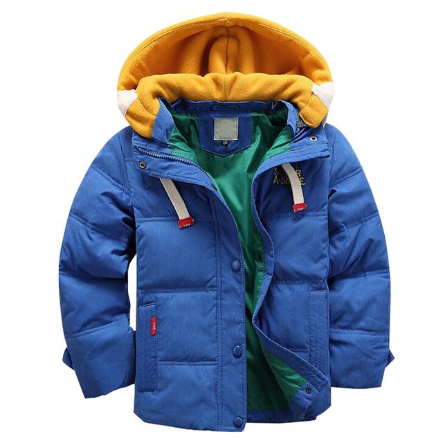 4-10Yrs crianças Meninos casacos de inverno de alta qualidade Casaco azul crianças Casuais grossas quentes para Meninos jaqueta de Inverno Natal Casaco de Inverno Menino