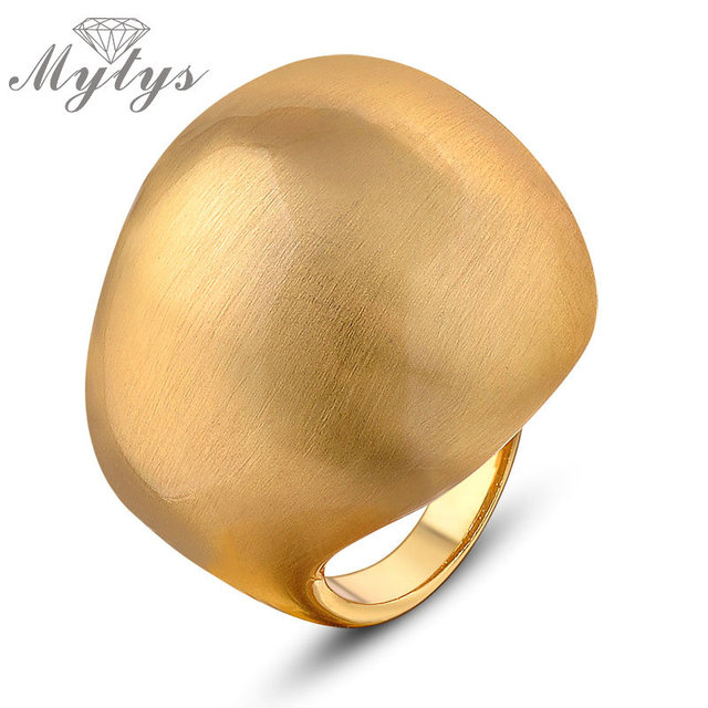 Mytys New Bing Chunky Ring fashion jewelry ball shape Yellow Ring for Women R869