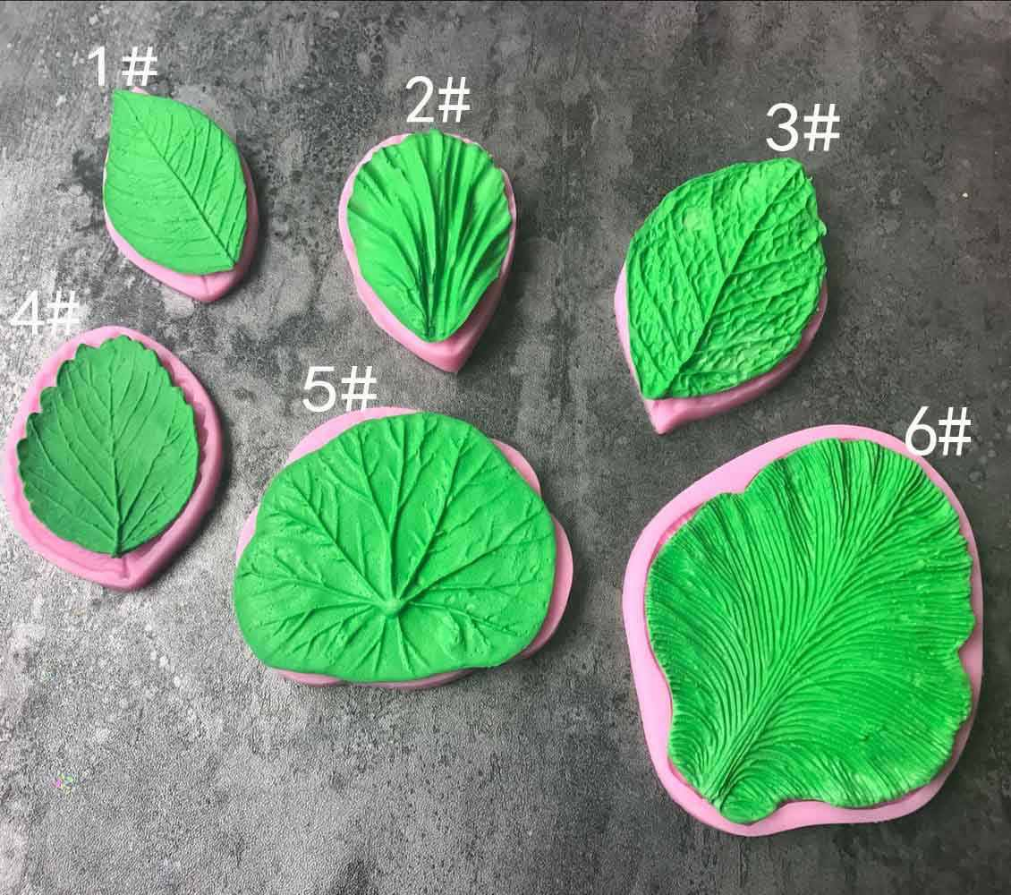 Large flower petals and leaves shape leaf texture model sugar liquid  silicone baking mold embossing mold