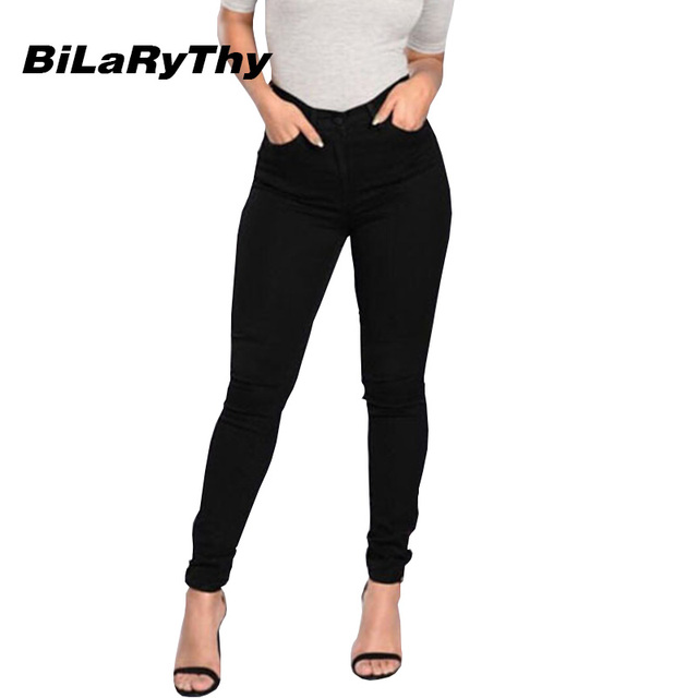 BiLaRyThy Skinny Women Black Jeans High Waist Washed Solid Cotton Denim Pants Female Elastic Slim Trousers