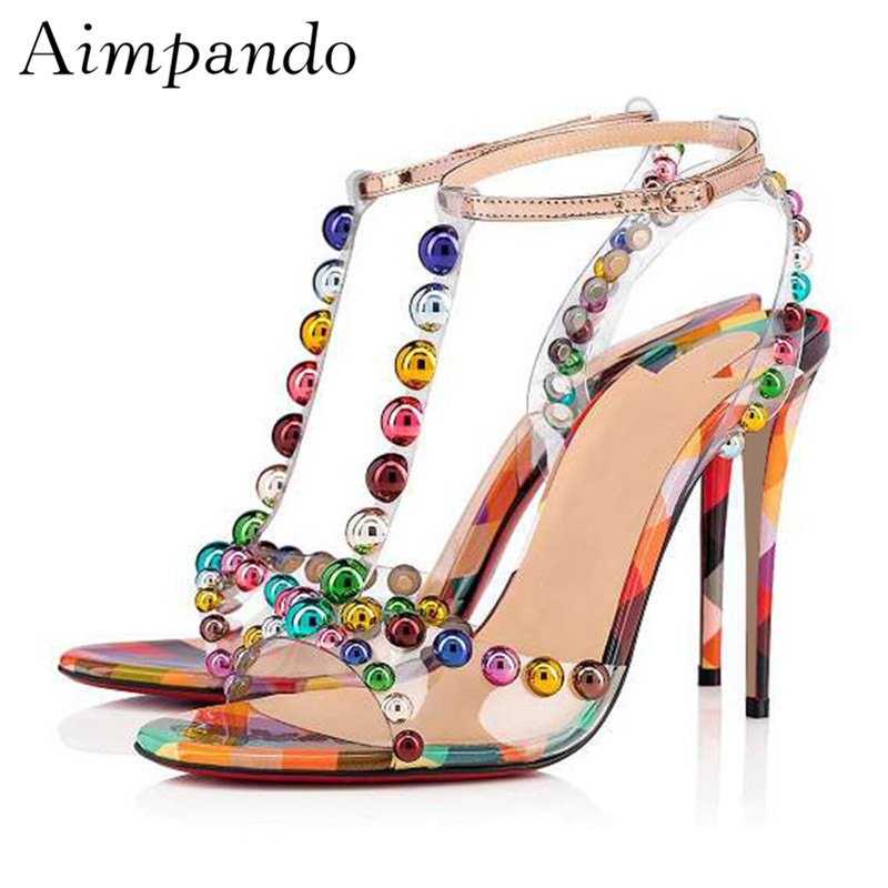 Iridescent Rivet Ball Transparent PVC Sandals Women Thin Heel T-strap New Sweet Summer Shoes Colorful Rivet SandaliasIridescent Rivet Ball Transparent PVC Sandals Women Thin Heel T-strap New Sweet Summer Shoes Colorful Rivet Sandalias