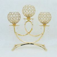 European Gold Crystal Candelabra for Wedding Table Centerpieces Tealight Cheap Candle Holder Home Decoration
