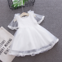 Newborn Baby Girls Lace Dress 2018 New Summer Flower Princess Dresses Baby Puff White Gown Dress For Weddings and Parties
