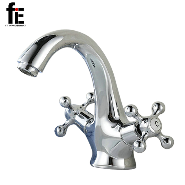 FiE Silver Bathroom Faucet Dual Handle Vessel Sink Mixer Tap Hot And Cold  Separation Switch