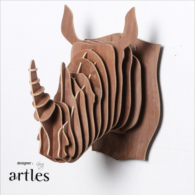 India Modern Interior Decorative Creative Rhino Head Craft3D DIY Wood Wooden Animal Heads Wall Hangingsbarrestaurant Decor In Statues Sculptures From