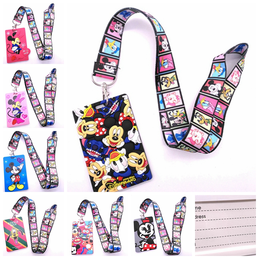 1 Pcs Cartoon Mickey Minnie Stitch Marie Cat Head   Lanyard Key Chains Card Holders Bank Card Neck Strap Card Bus ID Holders  V4