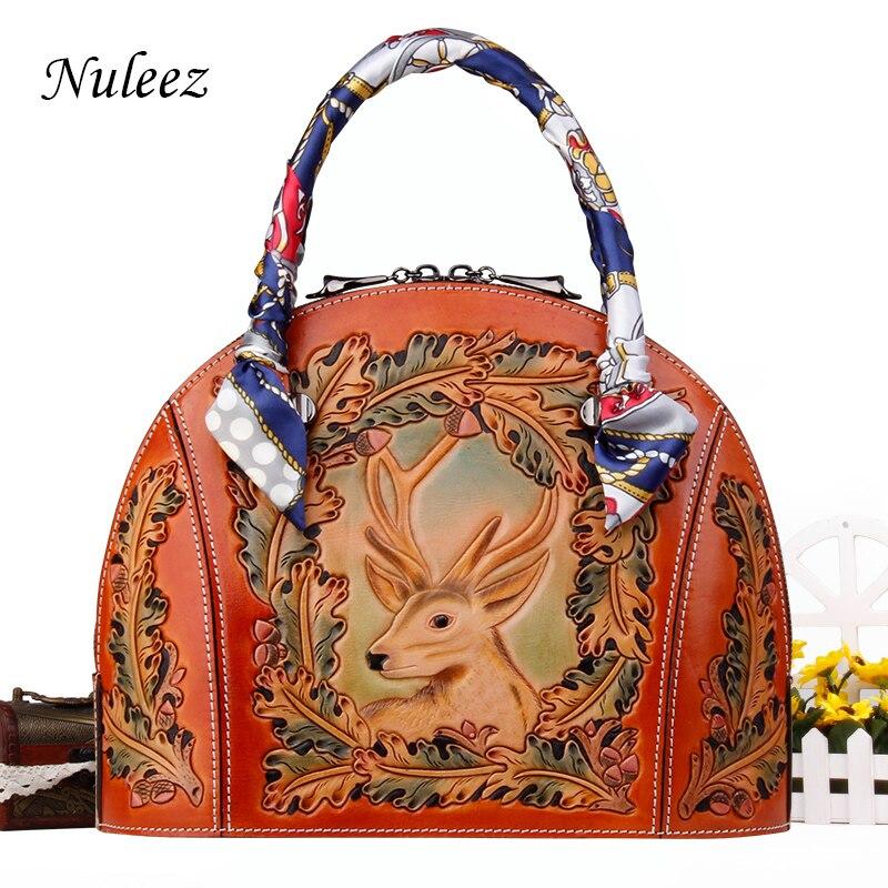 Nuleez genuine leather handbag women shell bag Vintage hand carving 3D Christmas deer luxury Christmas gift