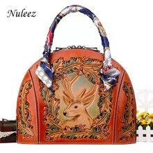 Nuleez genuine leather handbag women shell bag Vintage hand carving 3D Christmas deer luxury gift
