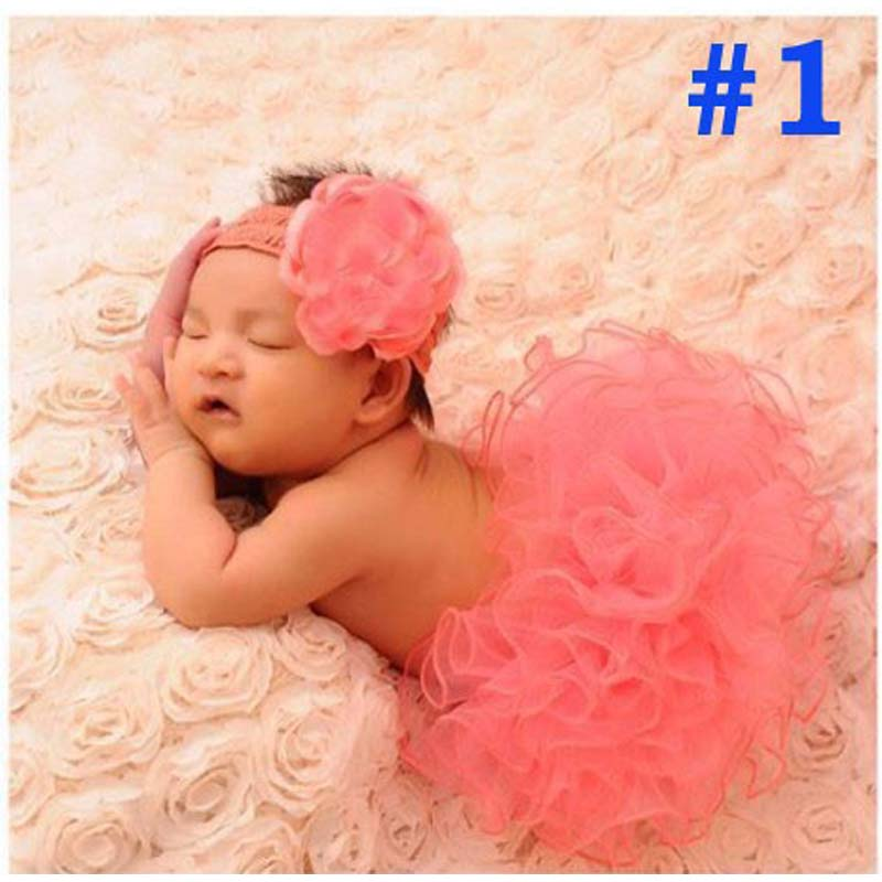 Baby tulle Tutu and Headband Set Newborn Coral tulle Tutu Little Girl Easter Photography Prop Halloween Costume 1set TS002 image