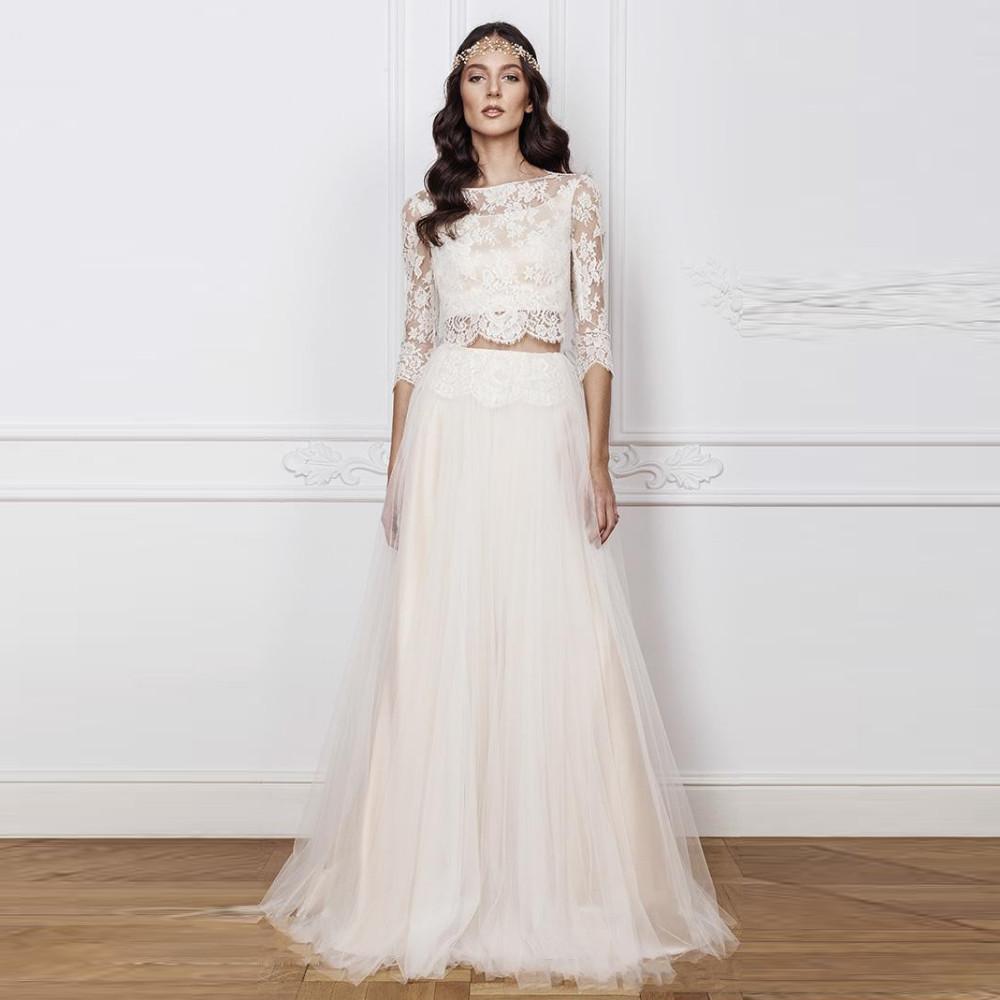 Boho Wedding Dresses 2 Pieces Half Sleeve Vestido De Noiva Lace