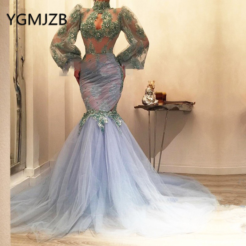 Elegant Mermaid Lace Prom Dresses 2019 Long Sleeve High Neck Beaded Appliques Evening Gown Saudi Arabia Women Formal Party Dress in Prom Dresses from Weddings Events