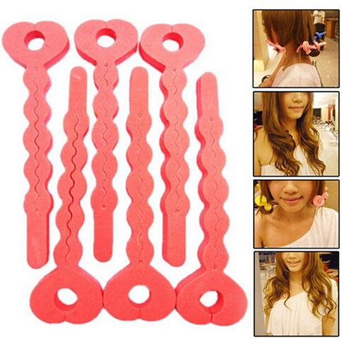 6 Pcs/lot Sponge Curler Hair Rollers Soft Foam Sponge Hair Curlers Tools Strip Salon Hair Style Tools cute strawberry style hair curler balls red green 6 pcs