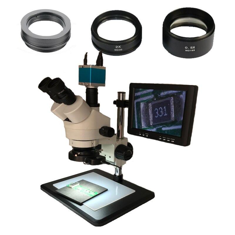 16MP HDMI IC Soldering Video microscopio camera +3.5X 7X 45X 90X Trinocular stereo Simul Focal microscope+144 Led ring lights