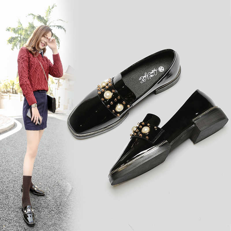 83d3e90197 Pearls rivets studded shoes woman Patent leather creepers rivets beads  flats square toe espadrilles brand designer moccasins