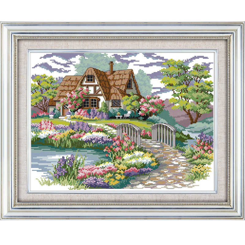 Joy Sunday Dream House Counted Cross Stitch Diy 11CT14CT Print Cross Stitch Set Wholesale Cross-stitch Kit Embroidery Needlework