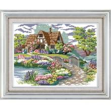Joy Sunday Dream House Counted Cross Stitch Diy 11CT14CT Print Set Wholesale Cross-stitch Kit Embroidery Needlework