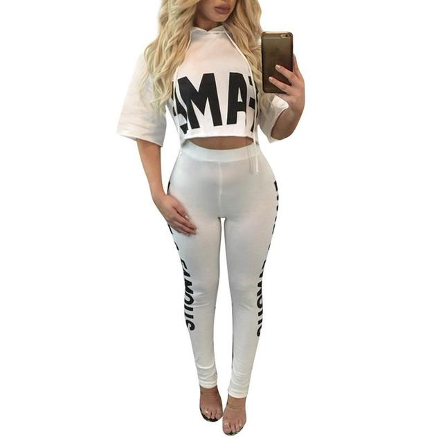 Women Winter Clothing 2017 Letter Tracksuit Stretch Sweatsuit Set Bodycon Women Two Piece Outfits Causal Homewear WS974X