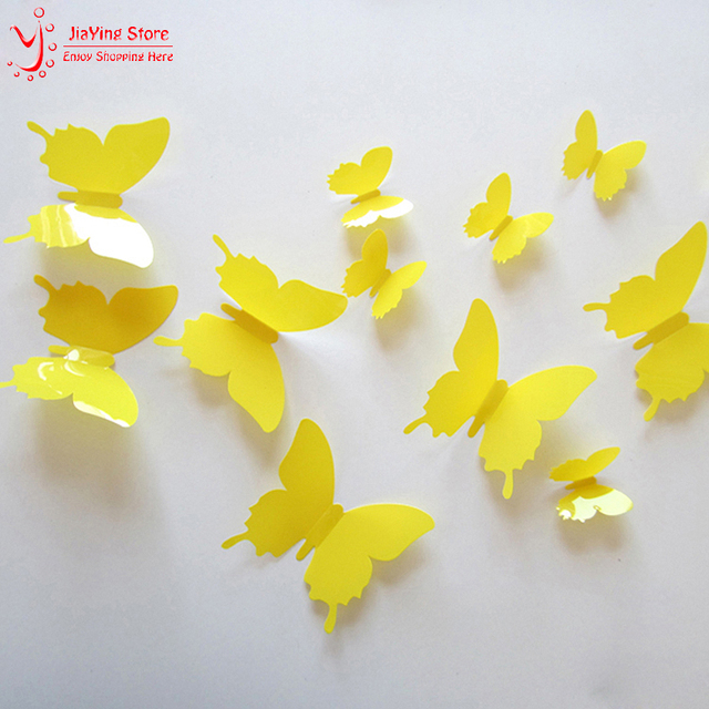12Pcs/Lot Vinyl Yellow 3D Butterflies Wall Sticker For Kids Room ...