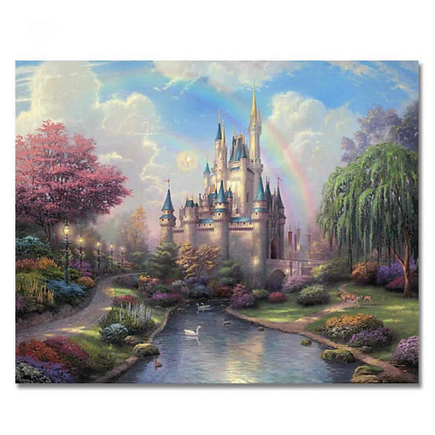 WEEN Dream Castle Painting Pictures By Numbers On Canvas DIY Handpainted Gift Coloring By Numbers Home Decor Bridge Wall Artwork