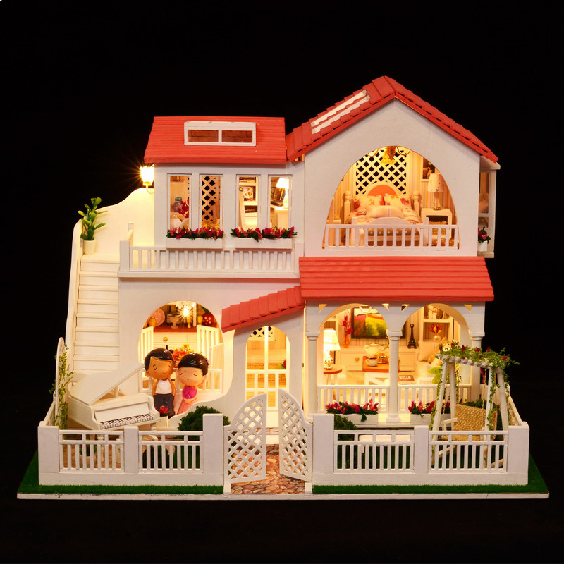DIY Kid Doll House Toy miniatura en miniatura modelo Puzzle Wooden - Muñecas y peluches - foto 2