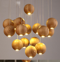 Modern Solid Wood Pendant Lamp Chinese Nordic Wooden Ball Light Fixtures Creative Minimalist Hanging Lamps For Bar Restaurant