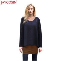 JAYCOSIN T Shirts T Shirt Women Christmas Sexy Asymmetry Hem Long Sleeve Loose Tunic Plus Size