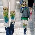 Juniores impressão multicor espessamento meias de veludo meia-calça feminina das mulheres da menina collants