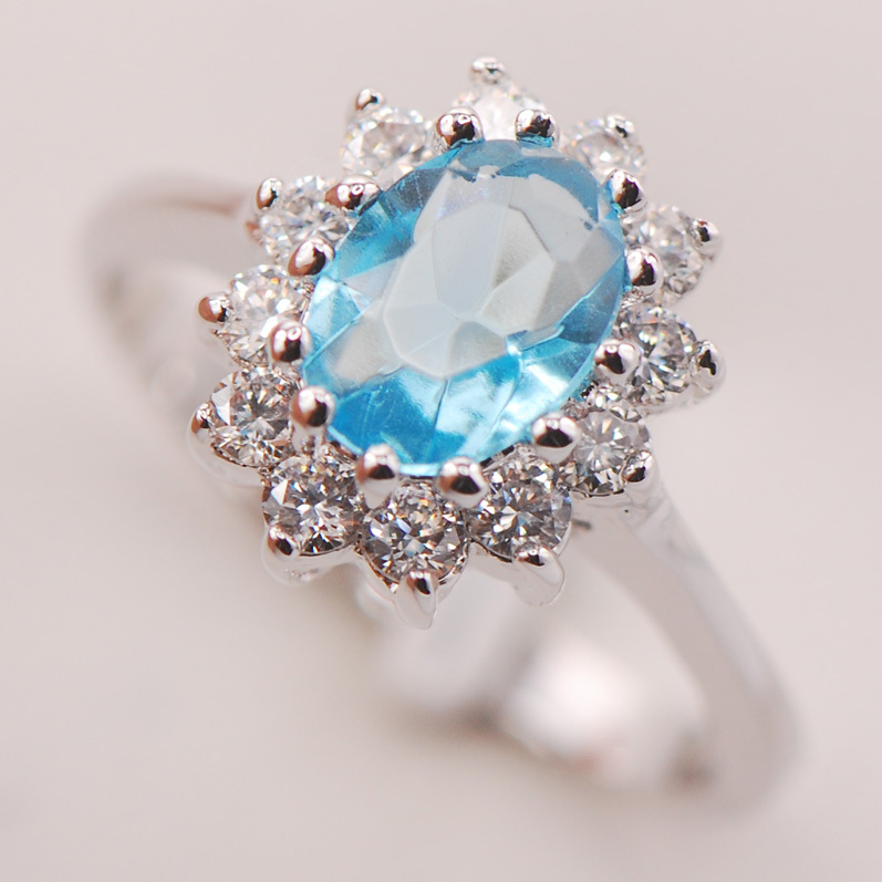 Simulated Aquamarine Women 925 Sterling Silver Ring F699 Size 5 6 7 8 9