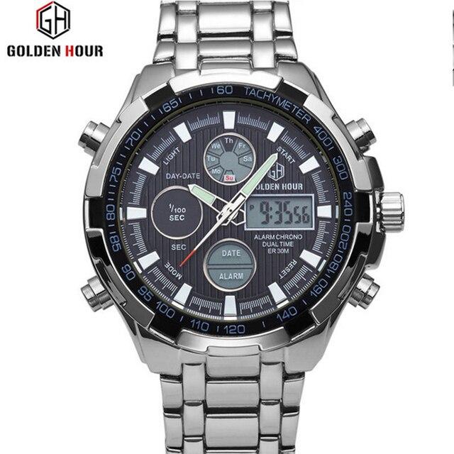 c9191f26804 Marca de luxo Relógios Homens Esportes Novo À Prova D  Água LED Digital  Quartz Men