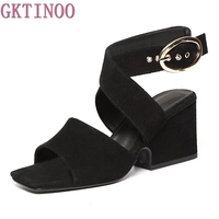 2017 New Fashion Flock Square Heels Buckle Strap Leisure Hasp Sexy Sandals Woman Ankle Strap Summer