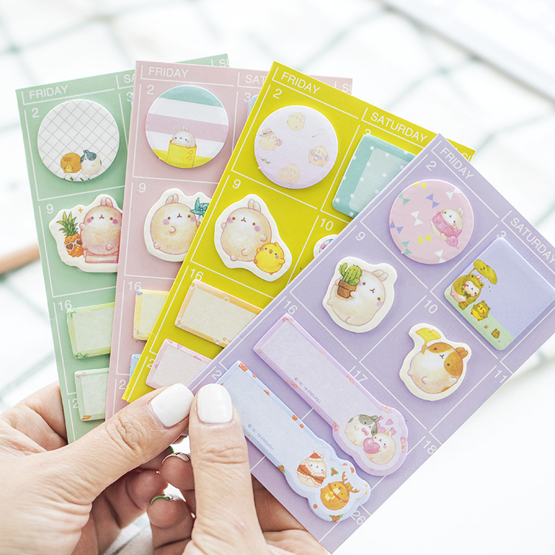 Cartoon Molang Rabbit Memo Pad Sticky Notes Cute Self-Adhesive Stationery Label Notepad Notebook Post School Supplies Escolar