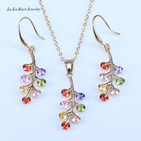 L B 2017 New Arrival Russian Leaf Gold Color Muliticolor Jewelry Sets For Lovers Pendant Earrings