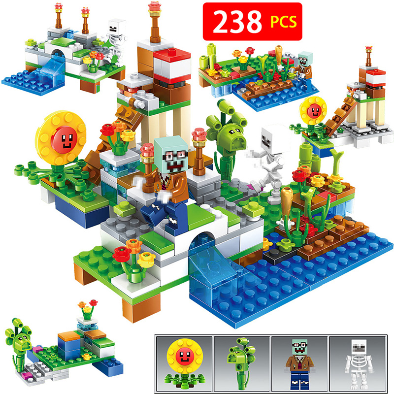 4 in 1 Compatible With LegoINGLYS Minecrafted Botanical zombies Farm My World Building Block Bricks DIY Enlighten Brinquedos Gif free shipping plate 1x2 w 1 knob diy enlighten block bricks compatible with assembles particles