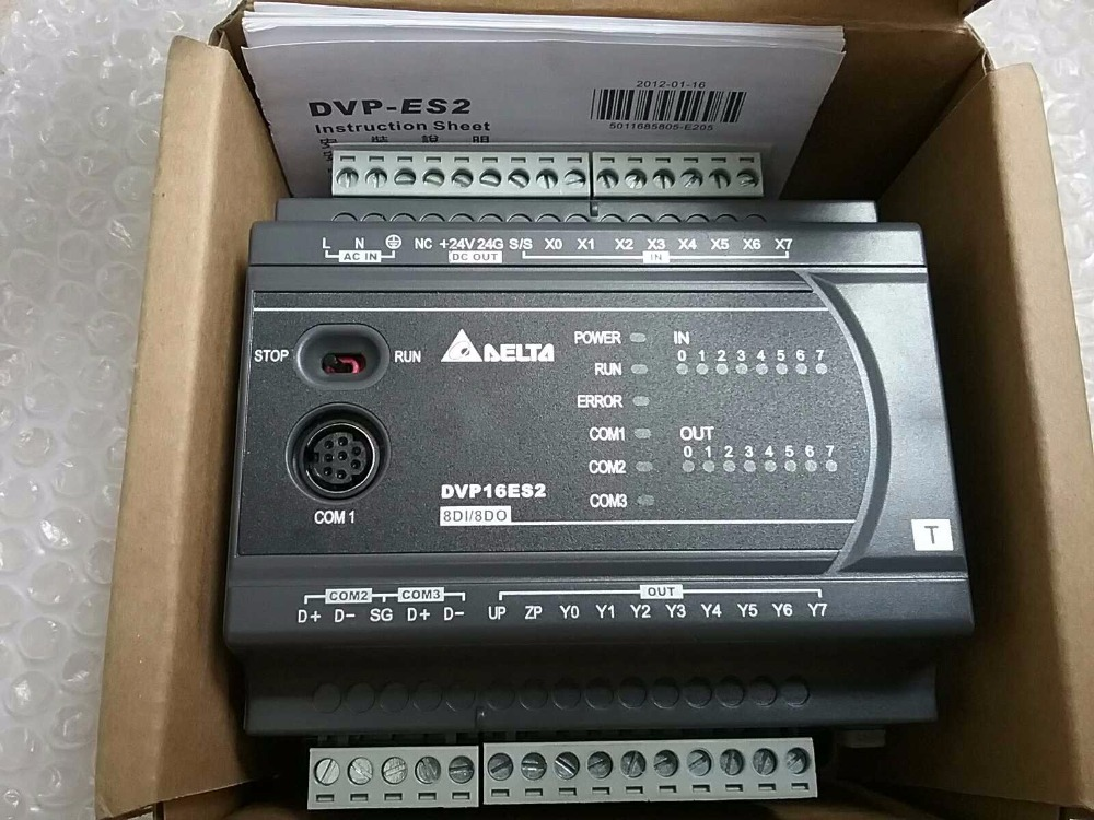 Brand New DVP16ES200T PLC 8 DI 8 DO  tested well working One Year Warranty fx3u 16mr es a programmable logic controller plc module original brand new tested working one year warranty