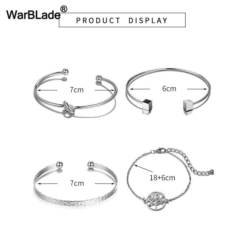 Hot 4pcs/Set Turtle Cuff Link Chain Charm Bracelets Bangle Multilayer Open Bracelet Sets Geometric Statement Bracelet For Women