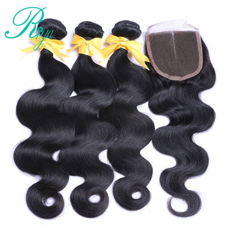 Riya Hair 3 Bundles Brazilian Body Wave Hair With Closure 4*4 Free Part 4pcs/lot Remy Human Hair Extension Natural Color