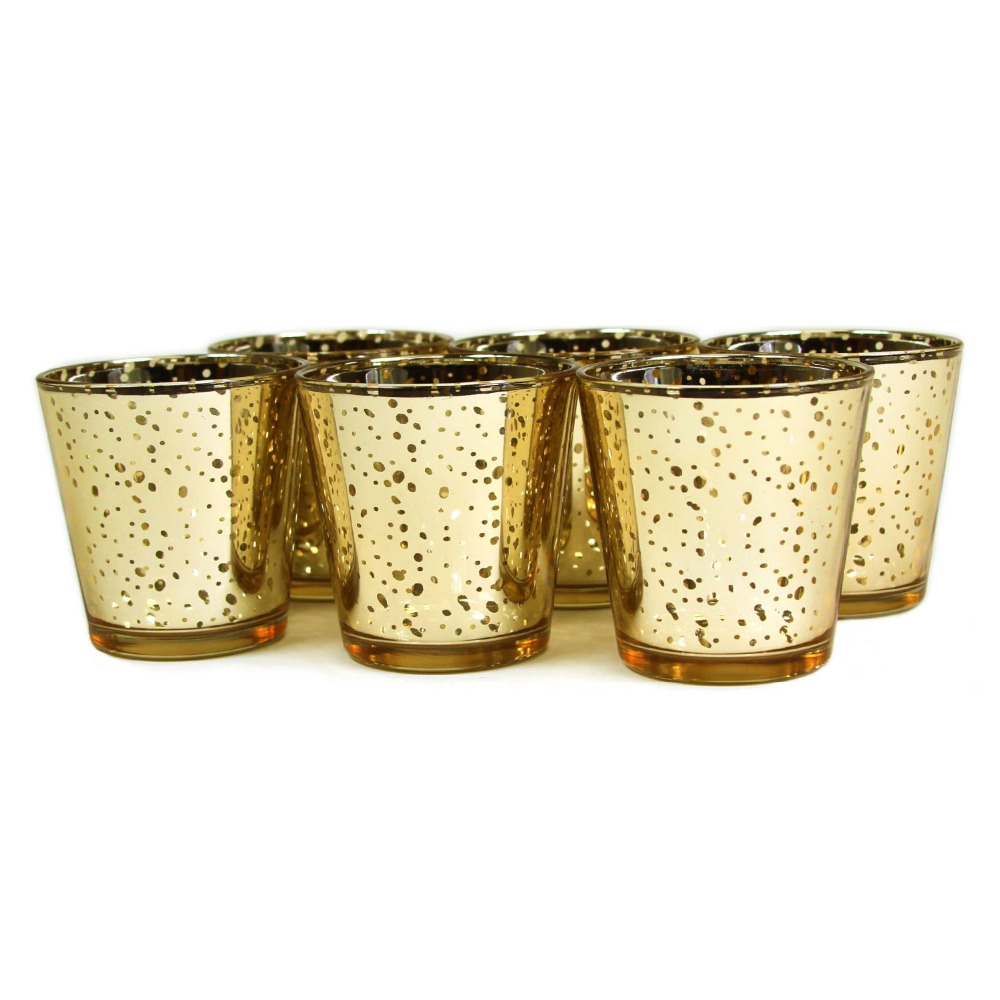 2.55 Inch Tall Glass Mercury Wedding and Party Votive Candle Holder ,Gold  Color,USD33.00 for 12pcs/Each USD2.75 mercury glass votive candle holders