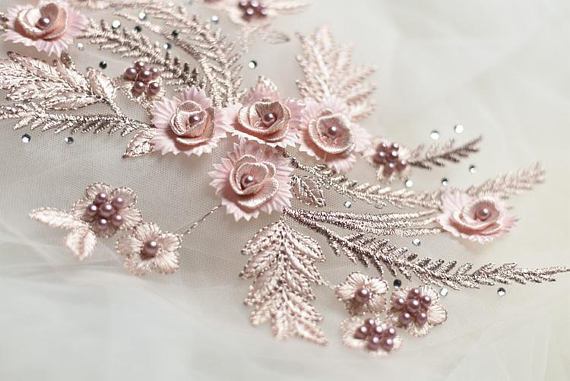1 piece pink lace applique heavy bead lace applique 3D lace applique with rhinestones bridal headpiece in Lace from Home Garden