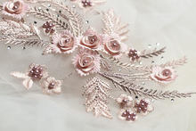 1 piece pink lace applique, heavy bead 3D applique with rhinestones, bridal headpiece
