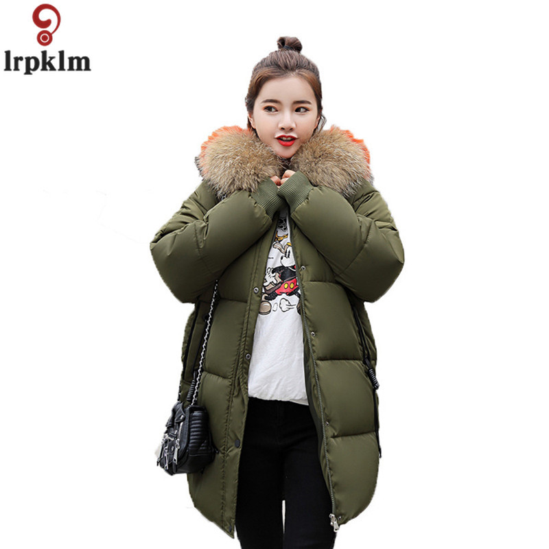 2019 Latest Design Winter Coat Women Large Fur Collar Hooded Long Jacket Warm Korean Padded Parkas 2017 Oversized Military Parka H552 Women's Clothing