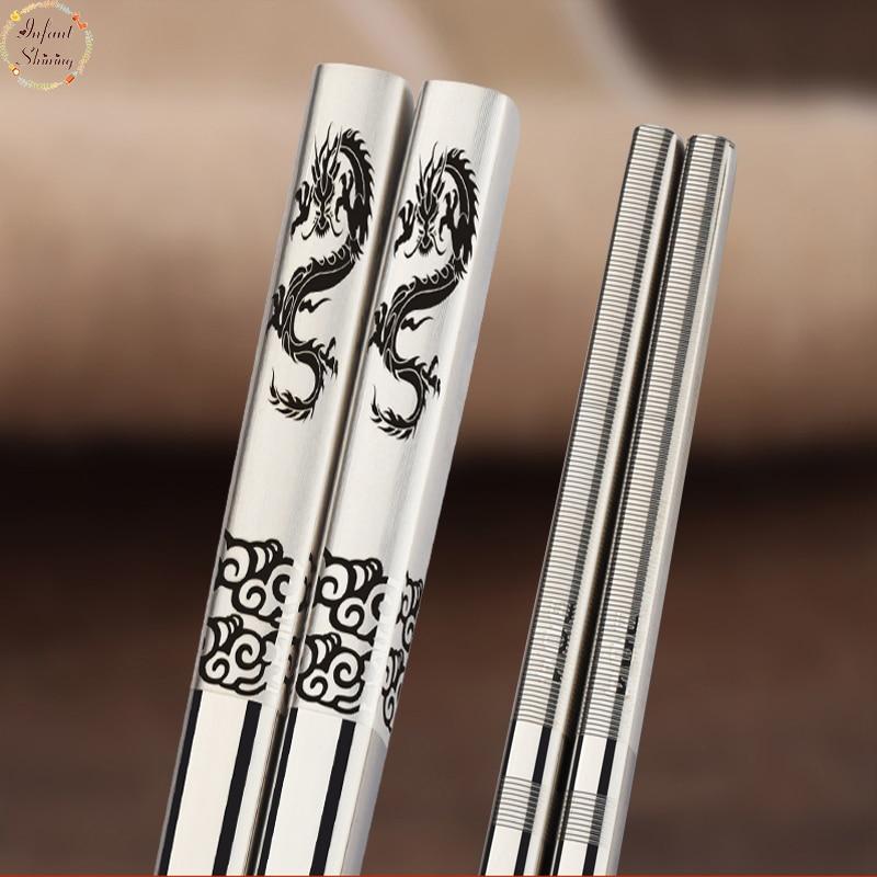 Chopsticks 5Pair Steelelikë çeliku të pandryshkshëm enë gatimi antiskid të shkopinjve argjendi të stilit kinez