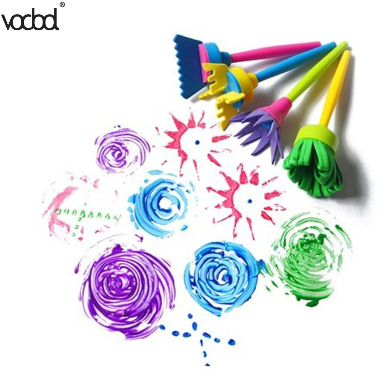 4pcs Rotate Spin Sponge Paint Drawing Toy Kids DIY Flower Graffiti Sponge Art Supplies Brushes Painting Tool School Stationery