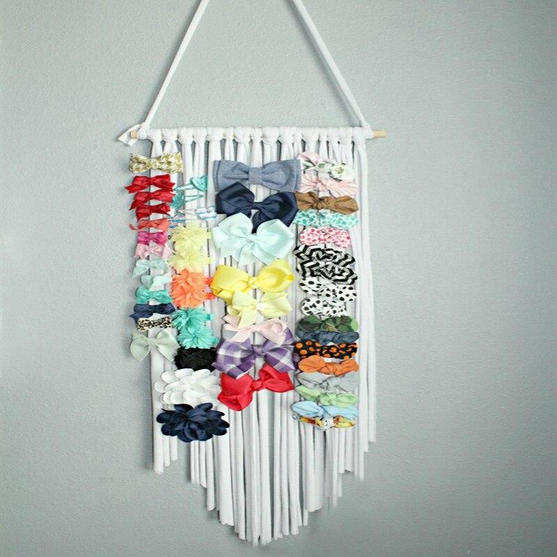 Women Girls Hair Bows Clip Holder Wall Hanging Storage Belt Barrette Hairband Organizer Hair Accessories Holder Room Decoration