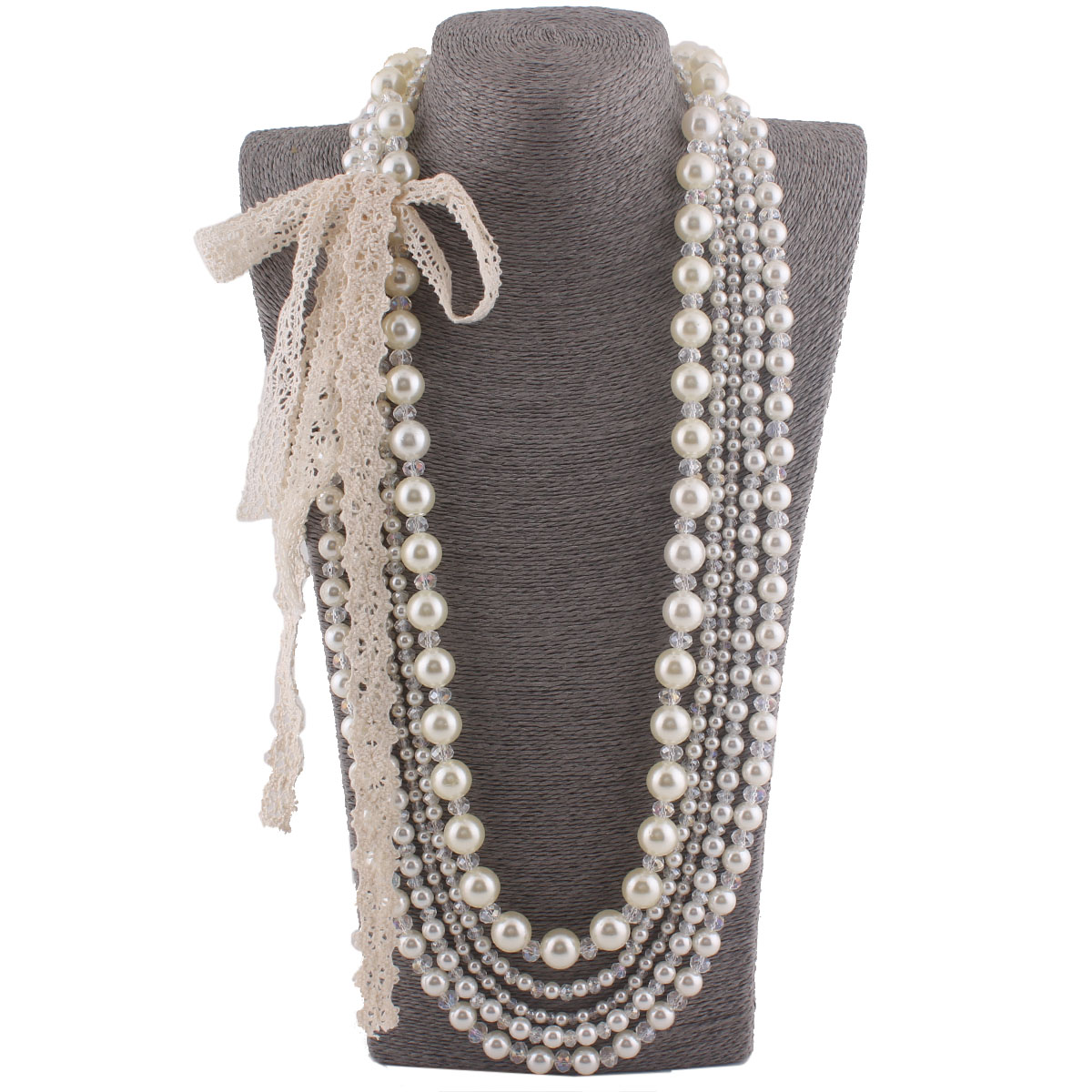 New Fashion Bridal Multistrand Faux Pearl Crystal Necklace For Women Kids  Party Handmade Beading