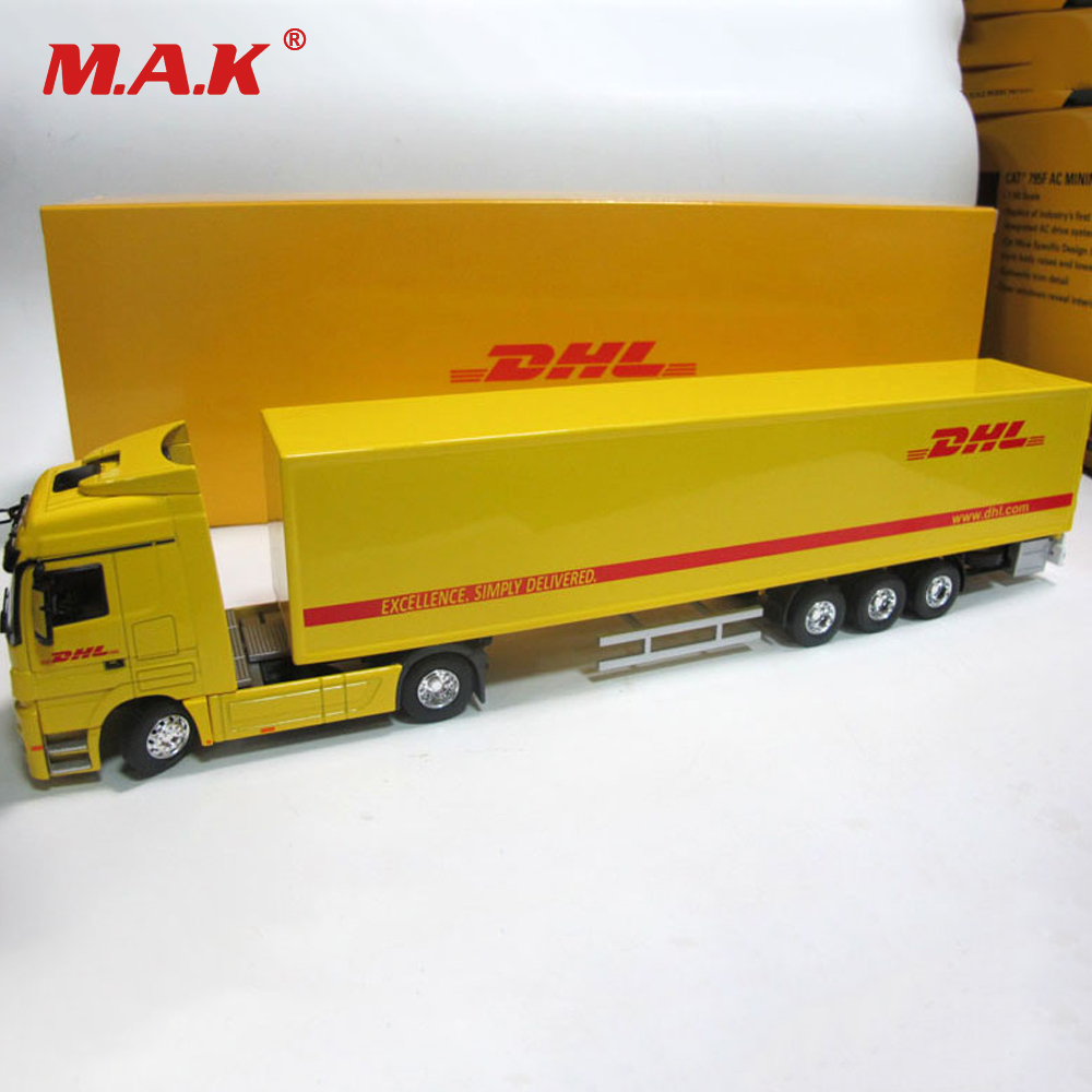 Diecast Alloy Metal Car Big Container Truck 1:50 Scale Express DHL Truck Model Car-styling Transporter Kids Toys Chirstmas Gift